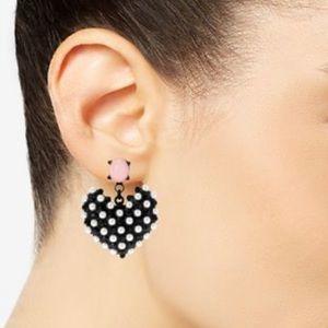 Betsy Johnson pearl heart earrings